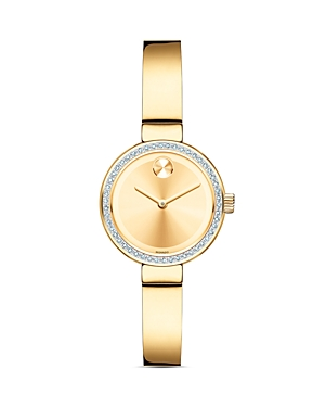 Movado Bold Yellow Gold Ion-Plated Bangle Watch with Diamonds, 25mm