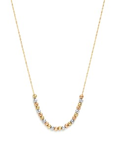 "Bloomingdale's - 14K Yellow, White and Rose Gold Half Beaded Chain Necklace, 17"" - 100% Exclusive"