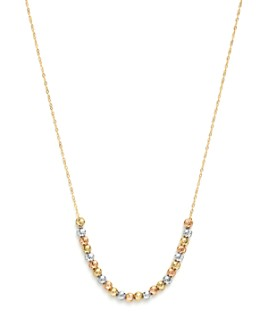 """Bloomingdale's - 14K Yellow, White and Rose Gold Half Beaded Chain Necklace, 17"""" - 100% Exclusive"""