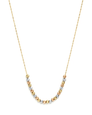 14K Yellow, White and Rose Gold Half Beaded Chain Necklace, 17 - 100% Exclusive