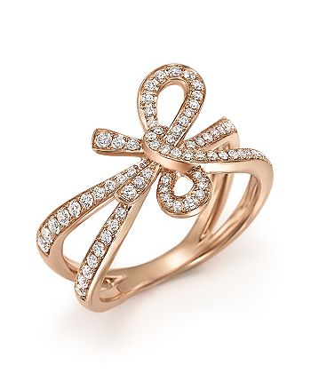 Bloomingdale's - Diamond Bow Ring in 14K Rose Gold, .54 ct. t.w. - 100% Exclusive
