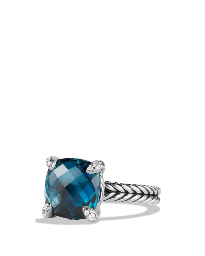 David Yurman Sterling Silver Châtelaine Ring with Gemstones & Diamonds, 11mm  | Bloomingdale's