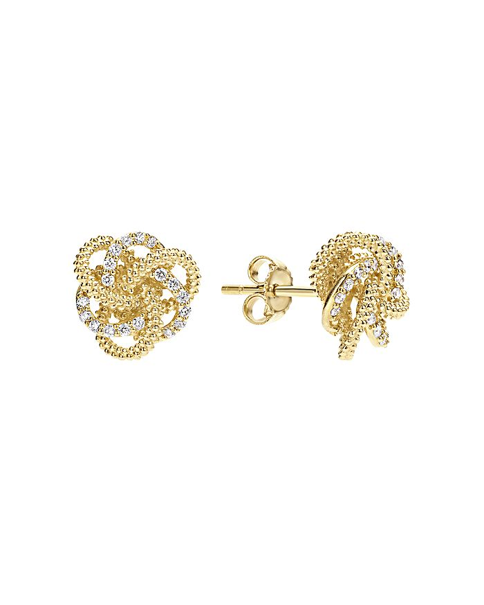 LAGOS - 18K Gold Love Knot Stud Earrings with Diamonds