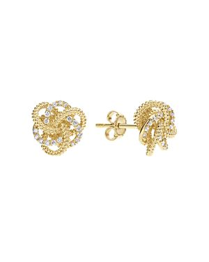 Lagos 18K Yellow Gold Love Knot Stud Earrings with Diamonds