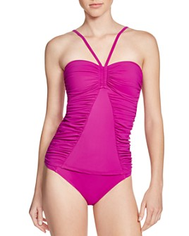 Profile by Gottex - Swan Lake Bandeau Tankini Top & Swan Lake Side Tab Bikini Bottom