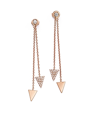 Diamond Pave Triangle Ear Jackets in 14K Rose Gold, .35 ct. t.w. - 100% Exclusive