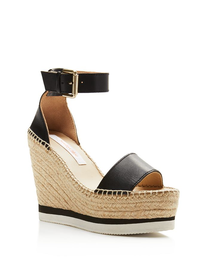 89ccd9eacaa See by Chloé - Women s Glyn Leather Espadrille Platform Wedge Ankle Strap  Sandals