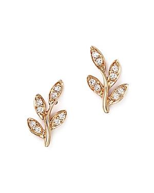 Diamond Leaf Stud Earrings in 14K Rose Gold, .10 ct. t.w.