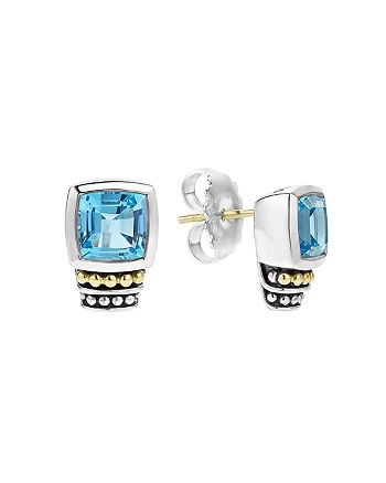 LAGOS - 18K Gold and Sterling Silver Caviar Color Stud Earrings with Swiss Blue Topaz