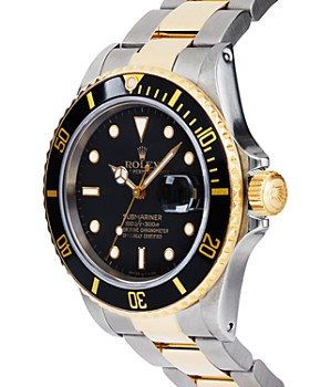 Pre-Owned Rolex - Stainless Steel and 18K Yellow Gold Two Tone Submariner Watch with Black Dial, 40mm