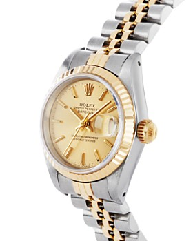 Pre-Owned Rolex - Stainless Steel and 18K Yellow Gold Two Tone Datejust Watch with Fluted Bezel and Champagne Dial, 26mm