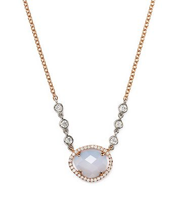"""Meira T - 14K Rose & White Gold Chalcedony Necklace with Diamonds, 16"""""""