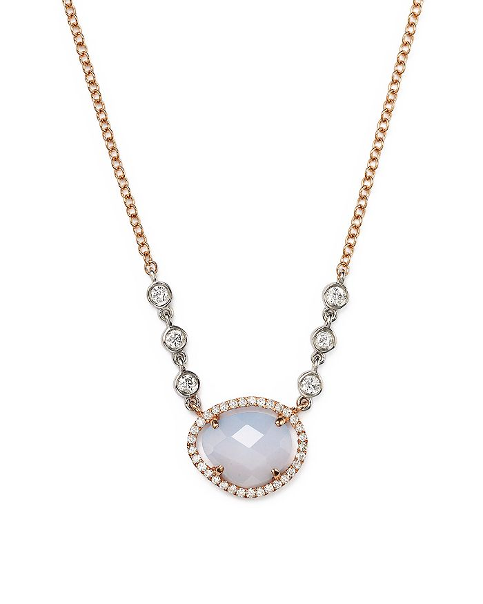Meira T - 14K Rose & White Gold Chalcedony Necklace with Diamonds, 16""