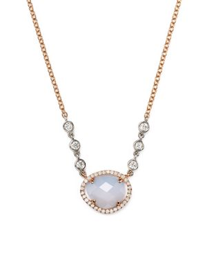 Meira T 14K Rose & White Gold Chalcedony Necklace with Diamonds, 16