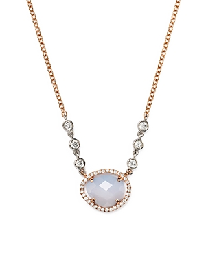 Click here for Meira T 14K Rose & White Gold Chalcedony Necklace... prices