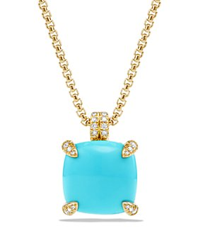 David Yurman - Châtelaine Pendant Necklace with Turquoise and Diamonds in 18K Gold