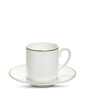 Domenico Vacca by Prouna - Alligator White Espresso Cup & Saucer, 2 Piece Set