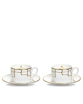Domenico Vacca by Prouna - Alligator Gold Swarovski Crystal Teacup & Saucer, Set of 2