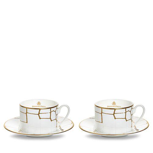Domenico Vacca by Prouna - Alligator Gold Swarovski Crystal Teacup & Saucer, Set of 2