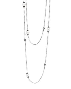 Lagos Sterling Silver Luna Cultured Freshwater Pearl and Caviar Ball Station Necklace, 34
