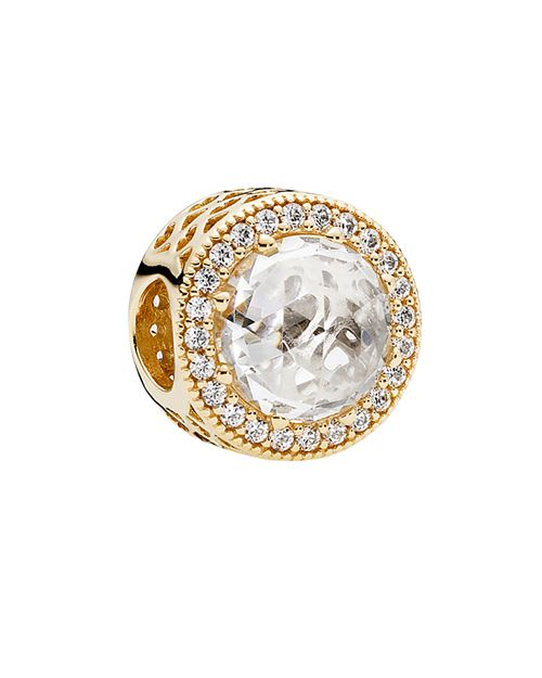 PANDORA - Charm - 14K Gold & Cubic Zirconia Radiant Hearts, Moments Collection
