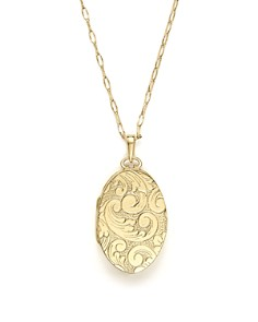 Monica Rich Kosann - 18K Yellow Gold Oval Floral Two Photo Locket Necklace, 30""
