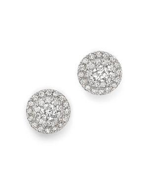 Diamond Halo Stud Earrings in 14K White Gold, 0.75 ct. t.w.