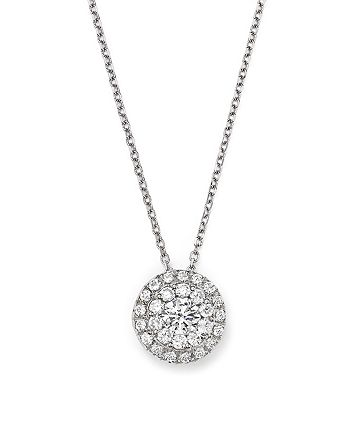 Bloomingdale's - Diamond Halo Pendant Necklace in 14K White Gold, 0.75 ct. t.w. - 100% Exclusive