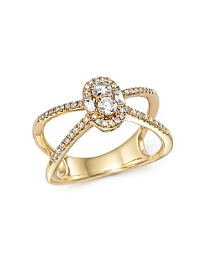Diamond Cluster X Ring in 14K Yellow Gold, .50 ct. t.w. - 100% Exclusive