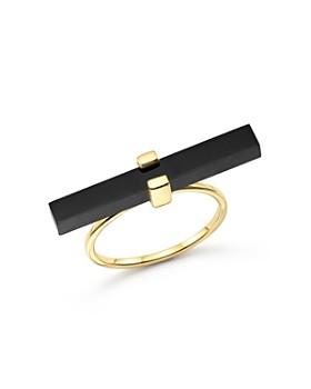 MATEO - 14K Yellow Gold Cross Bar Ring with Black Onyx