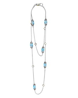 """LAGOS - 18K Gold and Sterling Silver Caviar Color Gemstone Station Necklaces, 34"""""""