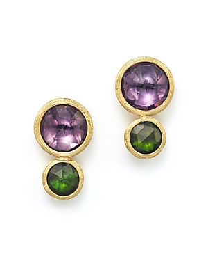 Marco Bicego 18K Yellow Gold Jaipur Two Stone Earrings with Amethyst and Green Tourmaline