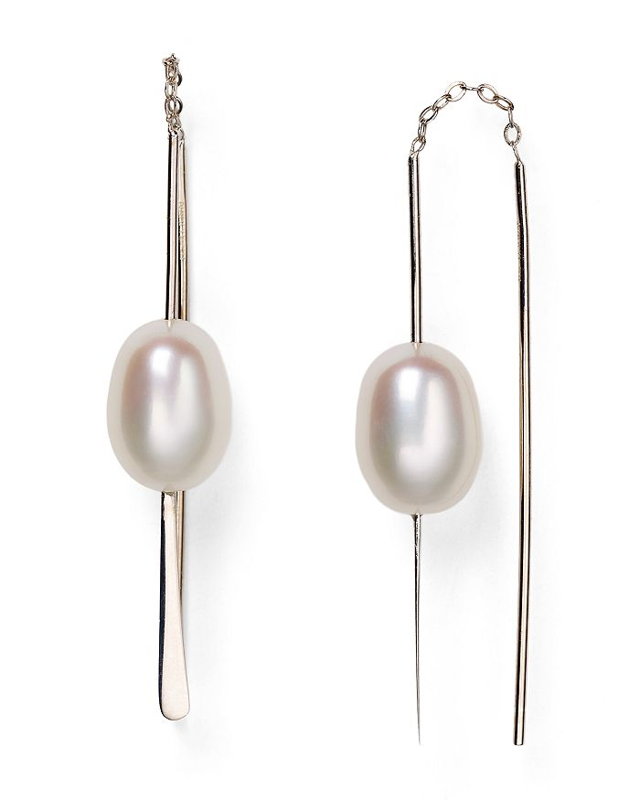 Bloomingdale's - Sterling Silver and Cultured Freshwater Pearl Threader Earrings, 9mm - 100% Exclusive