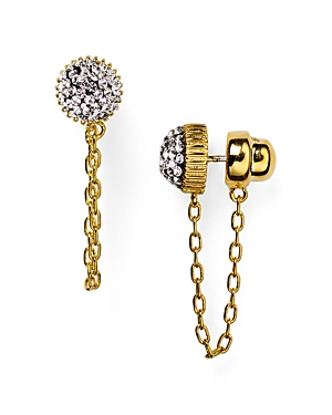 Marc By Marc Jacobs Pave Cabochon Jacket Chain Stud Earrings