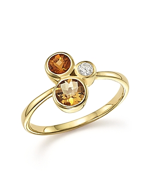 Citrine and Diamond 3 Stone Ring in 14K Yellow Gold - 100% Exclusive