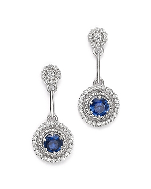 Sapphire and Diamond Drop Earrings in 14K White Gold - 100% Exclusive