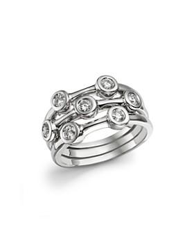 Roberto Coin - Roberto Coin 18K White Gold Diamond Bezel Ring