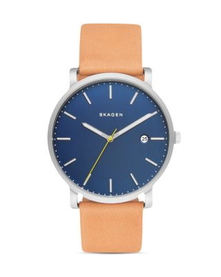 HAGEN LEATHER STRAP WATCH, 40MM