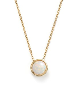 "Bloomingdale's - Opal Bezel Set Pendant Necklace in 14K Yellow Gold, 18""  - 100% Exclusive"