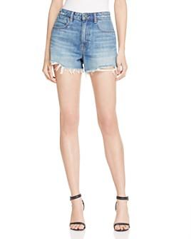 alexanderwang.t - Bite High Rise Frayed Shorts in Light Indigo Aged