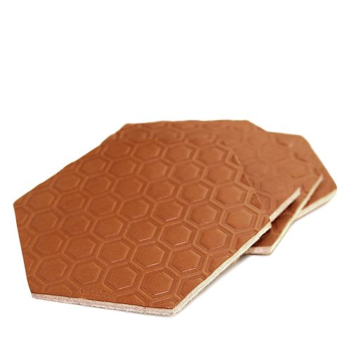 BOARDING PASS - Hexagon Leather Coasters, Set of 4
