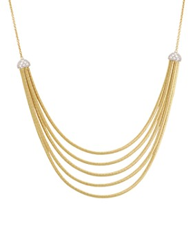 """Marco Bicego - 18K Yellow Gold Cairo Five Strand Necklace with Diamonds, 16.5"""""""