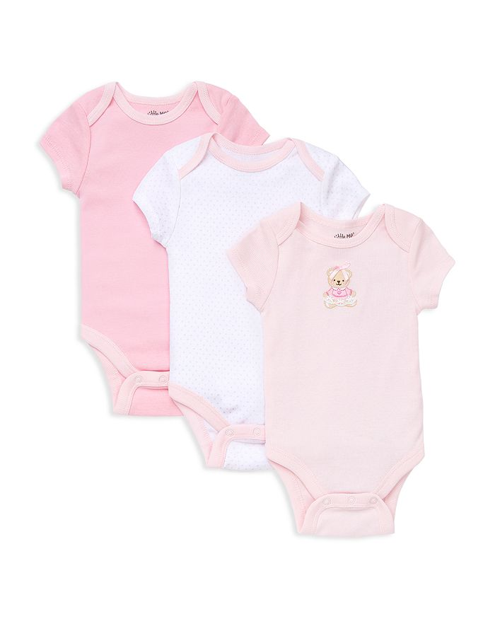 Little Me - Girls' Bear Bodysuit, 3 Pack - Baby