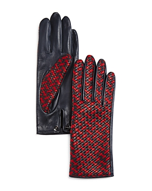 Agnelle Two-Tone Braided Leather Gloves