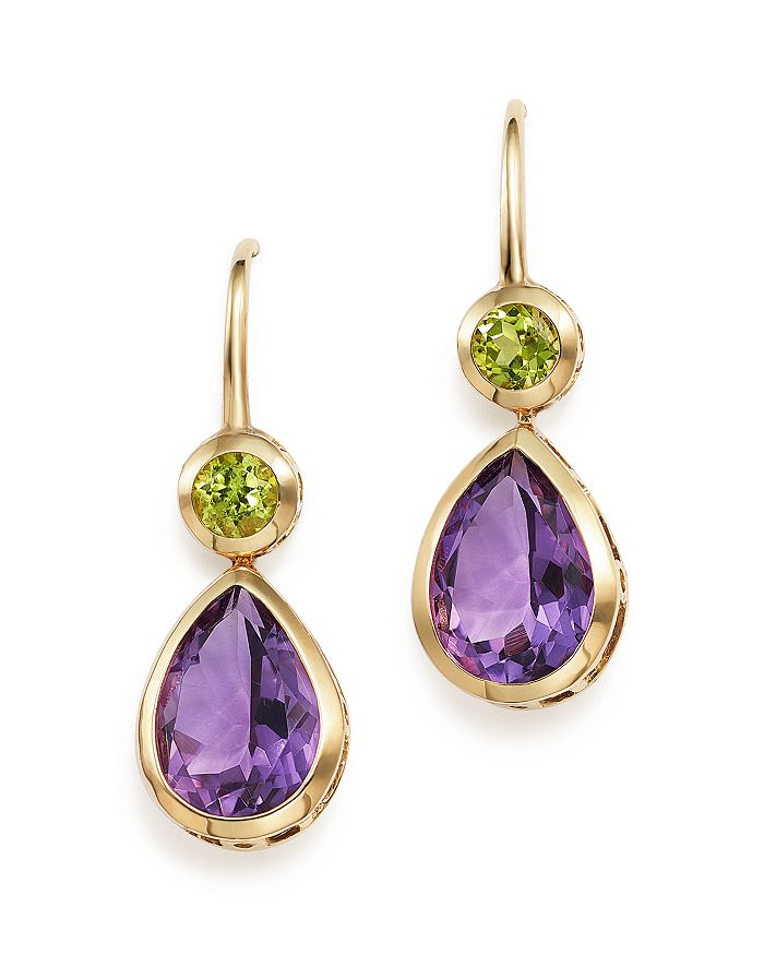 Bloomingdale's - Amethyst and Peridot Drop Earrings in 14K Yellow Gold - 100% Exclusive