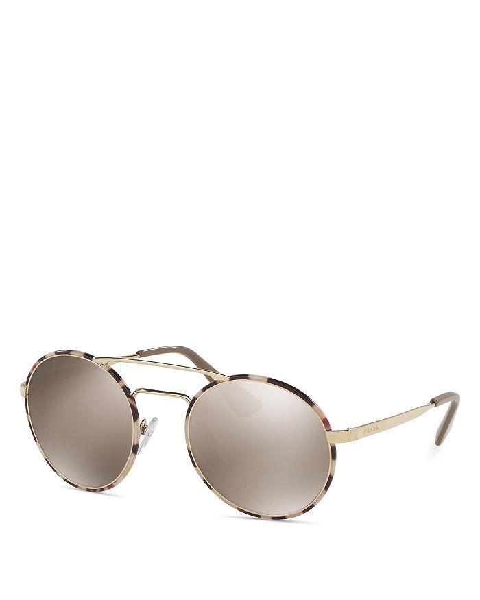5bdef37a48 Prada Women s Catwalk Mirrored Brow Bar Round Sunglasses