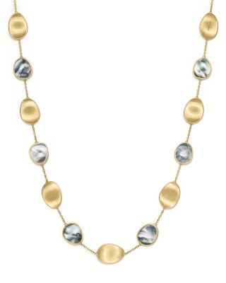 Marco Bicego Lunaria 18k Black Mother-of-Pearl Station Necklace 4Hkxo