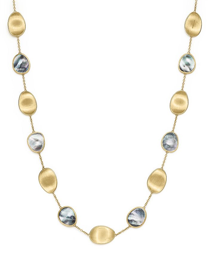 Marco Bicego 18K Yellow Gold Lunaria Black Mother-Of-Pearl Short Necklace, 16 In Grey Mother Of Pearl