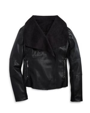 Aqua Girls' Open Front Faux Leather Jacket, Big Kid - 100% Exclusive