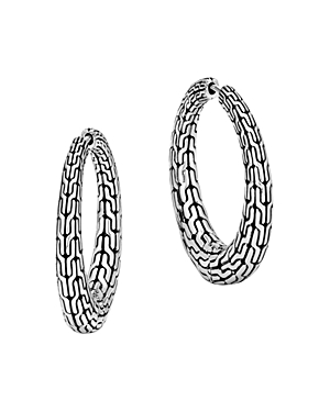 John Hardy Sterling Silver Classic Chain Graduated Hoop Earrings